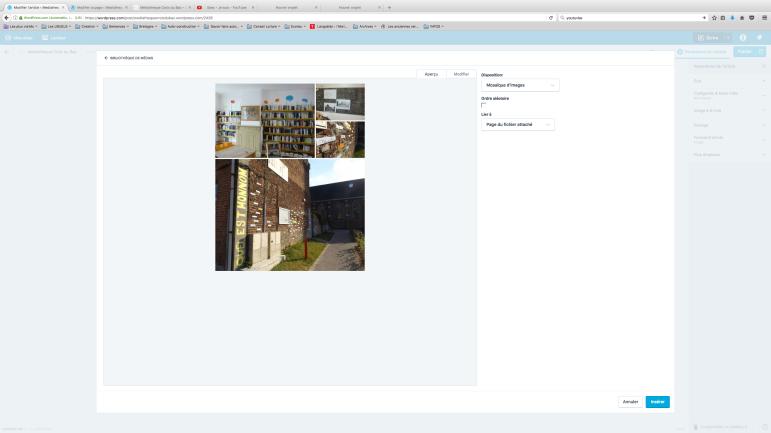 Vous pouvez inserer vos photos ou bien modifier si par exemple l'ordre des images ne conviennent pas, ou vous voulez en supprimer une